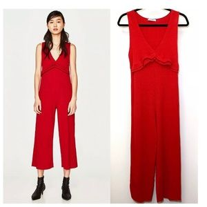 Zara Cropped Red Ribbed Knit Jumpsuit Large